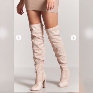 2b7a76cda83 Light Pink over the knee heeled suede boots
